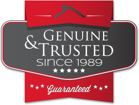 Genuine & trusted since 1989 award in white text with a red and grey background.